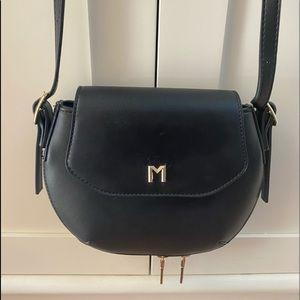 Vegan leather purse handbag - black / gold